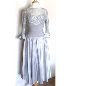 Jessica Howard silver gray dress lace top size 8